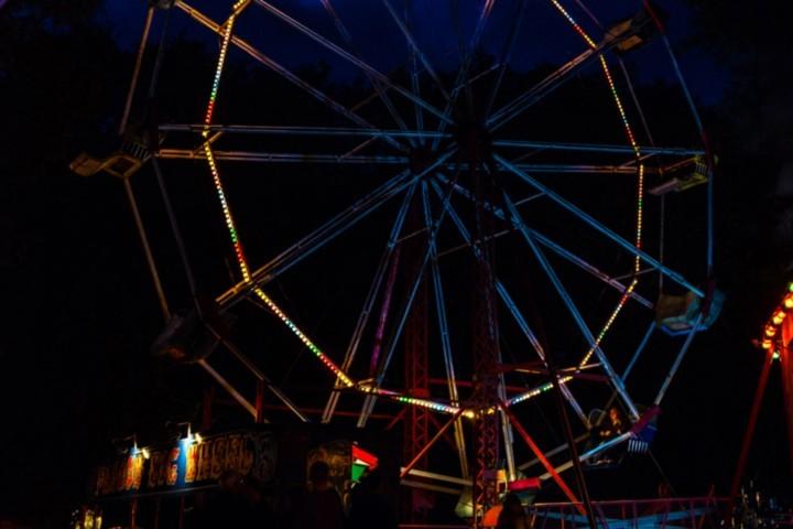 Hollycombe's big wheel at night