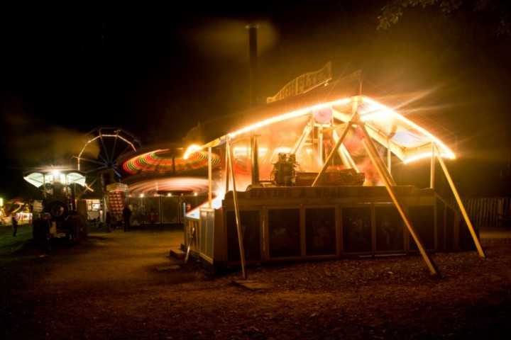 Fairground at Night with the Steam Yacht, Emperor, Razzle Dazzle and Big Wheel
