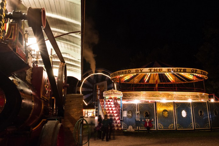 Hollycombe fairground at night