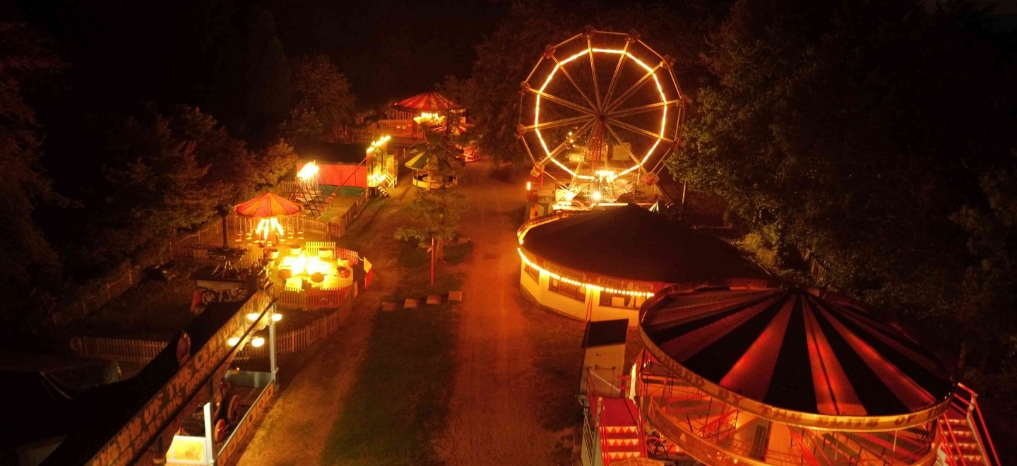 The Hollycombe Fairground at Night